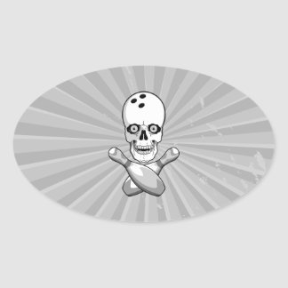bowling skull and cross pins grayscale design stickers