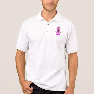 bowling skull and cross pins hot pink and green polo shirt