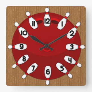 Bowling Square Wall Clock
