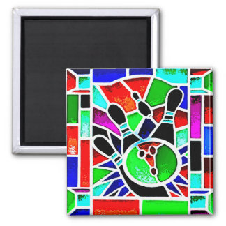 BOWLING STAINED GLASS SQUARE MAGNET
