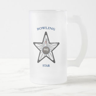 Bowling Star Frosted Glass Mug