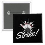 bowling strike! 15 cm square badge