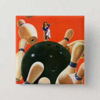Bowling Strike 15 Cm Square Badge
