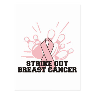 Bowling Strike Out Breast Cancer Postcards
