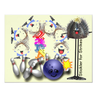 Bowling Strike Smiley party 11 Cm X 14 Cm Invitation Card
