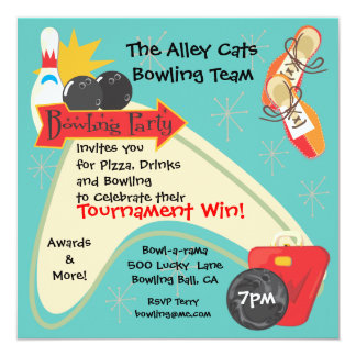 Bowling Team League Party Invitation Card