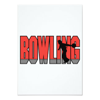 bowling text silhouette design custom invitations