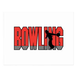 bowling text silhouette design post cards