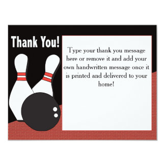 Bowling Thank You Card for Everyone! 11 Cm X 14 Cm Invitation Card