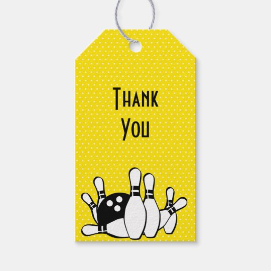 Bowling Theme Thank You With Polka Dots Gift