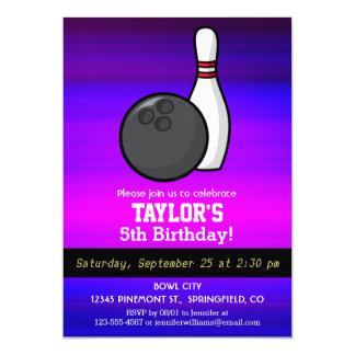 Bowling; Vibrant Violet Blue and Magenta 13 Cm X 18 Cm Invitation Card