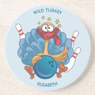 Bowling Wild Turkey With Ball And Pins Coaster