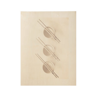 Bowls and Chopsticks Wood Poster
