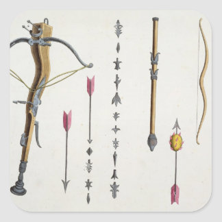Bows and arrows from the 14th-15th century, plate square sticker