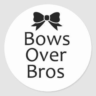 bows over bros- black round sticker