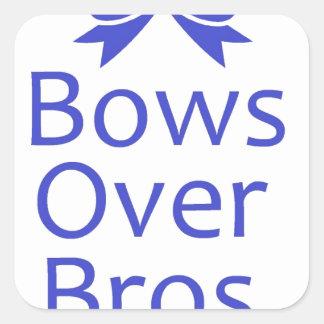 Bows Over Bros- Blue Square Sticker
