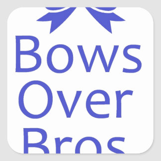 Bows Over Bros- Blue Square Stickers