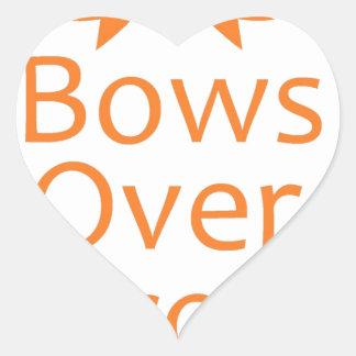 Bows over Bros- Orange Heart Sticker