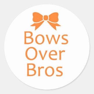 Bows over Bros- Orange Round Sticker