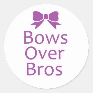 Bows over bros- Purple Round Sticker