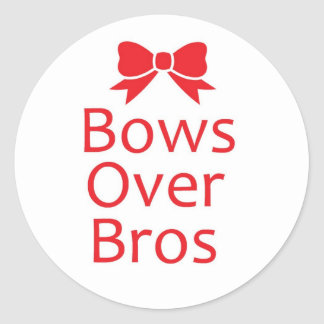Bows over Bros-Red Round Sticker