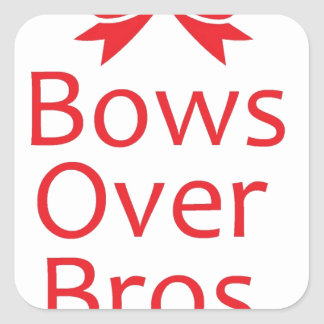 Bows over Bros-Red Square Sticker