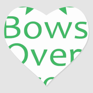 Bows over brows- green heart sticker