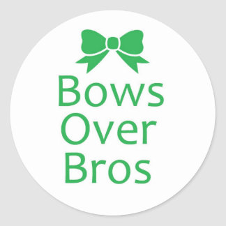 Bows over brows- green round sticker