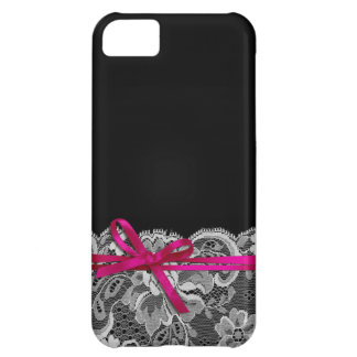 Bows Ribbon & Lace | black fuschia iPhone 5C Covers