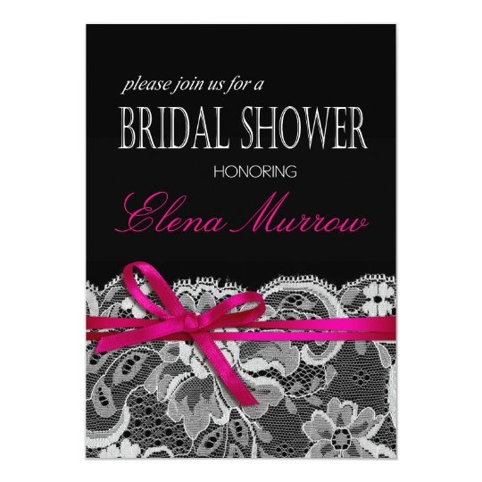 Bows Ribbon & Lace Bridal Shower black fuschia Card