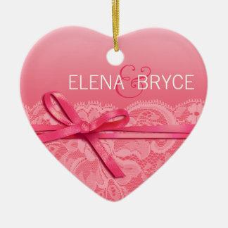 Bows Ribbon & Lace Photo   pink Ceramic Heart Decoration