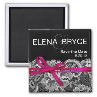 Bows Ribbon & Lace Save the Date black fuschia Square Magnet