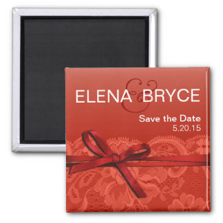 Bows Ribbon & Lace Save the Date coral Square Magnet