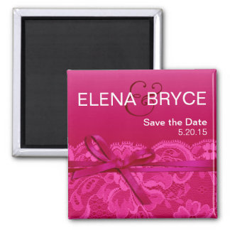 Bows Ribbon & Lace Save the Date fuschia Square Magnet