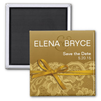 Bows Ribbon & Lace Save the Date gold Square Magnet