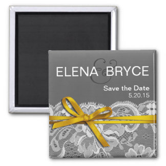 Bows Ribbon & Lace Save the Date gray yellow Square Magnet