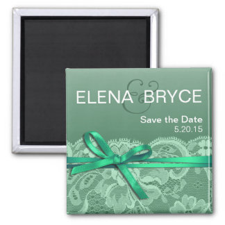 Bows Ribbon & Lace Save the Date mint Square Magnet