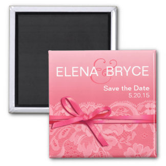Bows Ribbon & Lace Save the Date pink Square Magnet