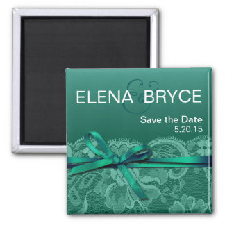 Bows Ribbon & Lace Save the Date teal Square Magnet