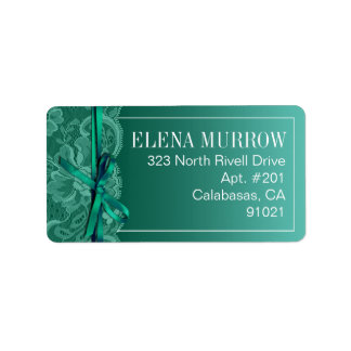 Bows Ribbon & Lace | teal Address Label