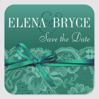 Bows Ribbon & Lace | teal Square Sticker