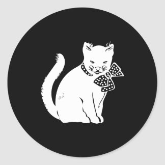 Bowtie Cat Round Sticker