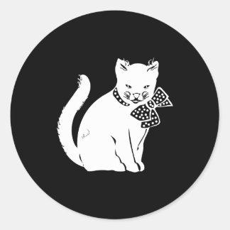 Bowtie Cat Round Stickers