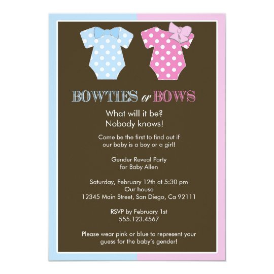 Bowties or Bows? Gender Reveal Invitation