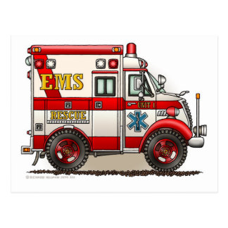 Box Ambulance EMS EMT Emergency Postcard