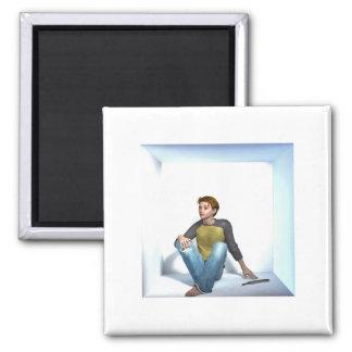 Box Boy Writer Square Magnet