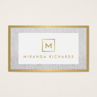 Box Logo Monogram with Elegant Snakeskin Print Business Card