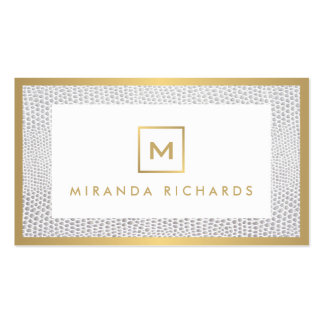 Box Logo Monogram with Elegant Snakeskin Print Pack Of Standard Business Cards
