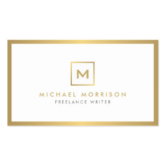 BOX LOGO with YOUR INITIAL/MONOGRAM in Faux Gold Pack Of Standard Business Cards