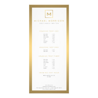 BOX LOGO with YOUR INITIAL/MONOGRAM in Faux Gold Rack Card Design